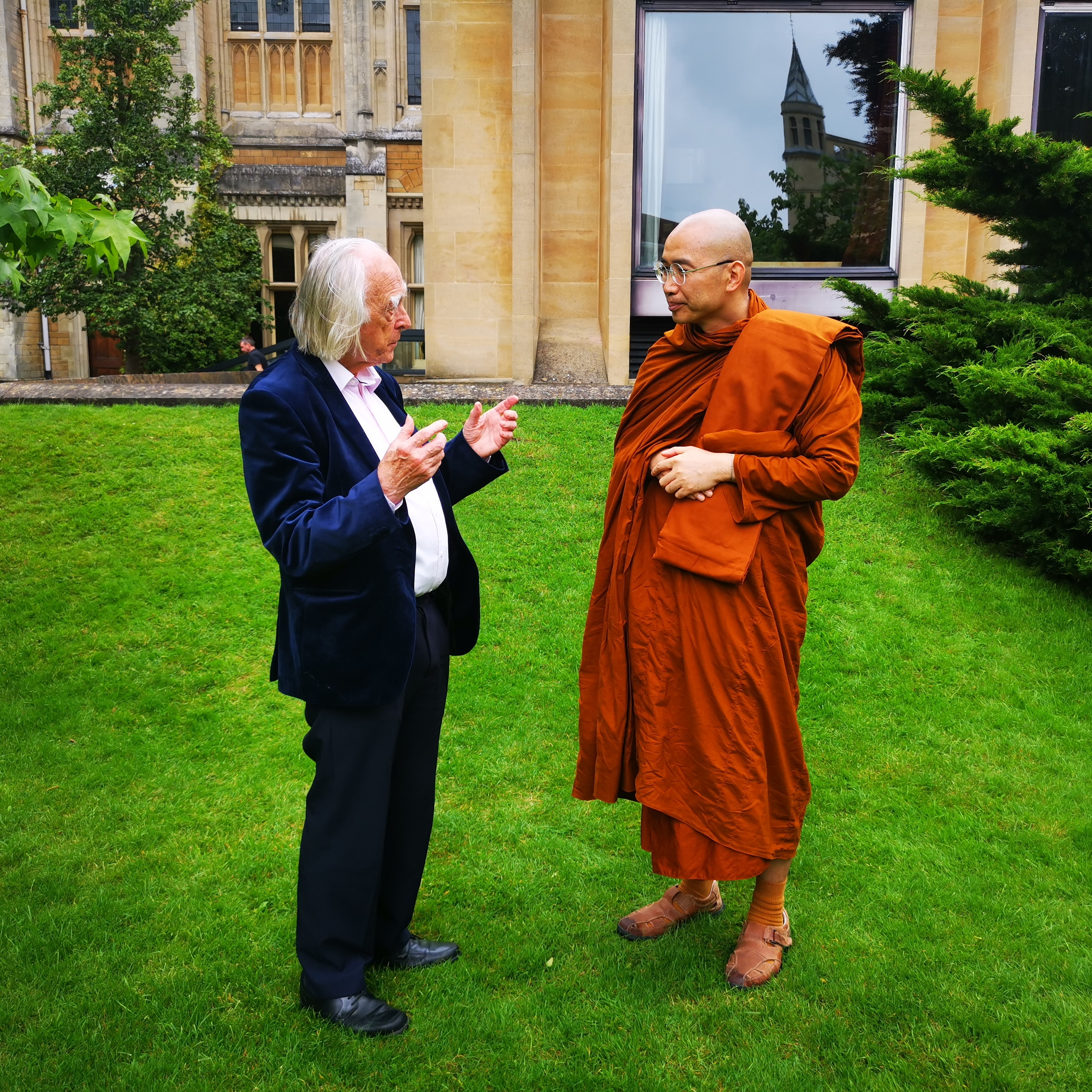 Prof Denis Noble with Monk